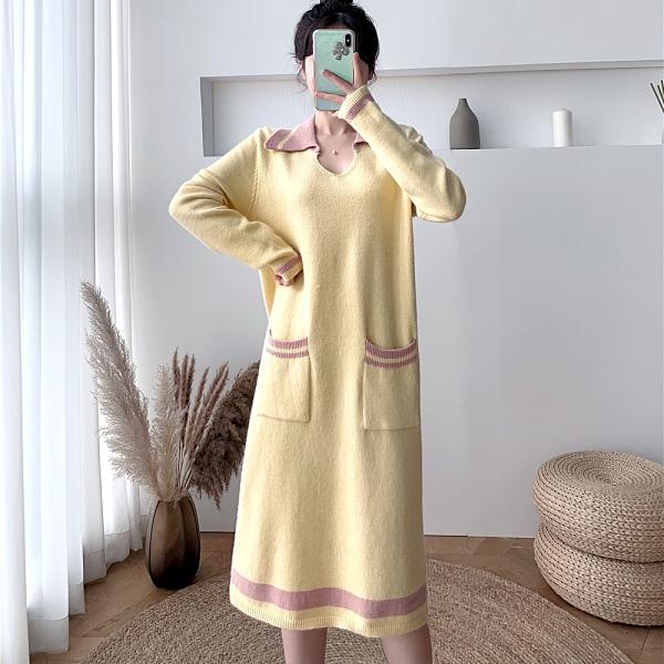 第二件4折 韓系polo領針織寬鬆直筒拼色毛衣裙長袖洋裝