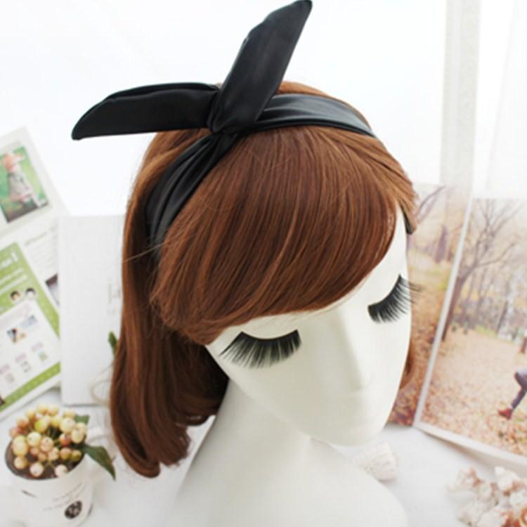 韓國明星同款女士仿羊皮兔耳朵髮帶