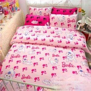 【Barbie】波斯公主貓-雪芙絨雙人床包三件組(Princess Persian)《嫩兔粉》