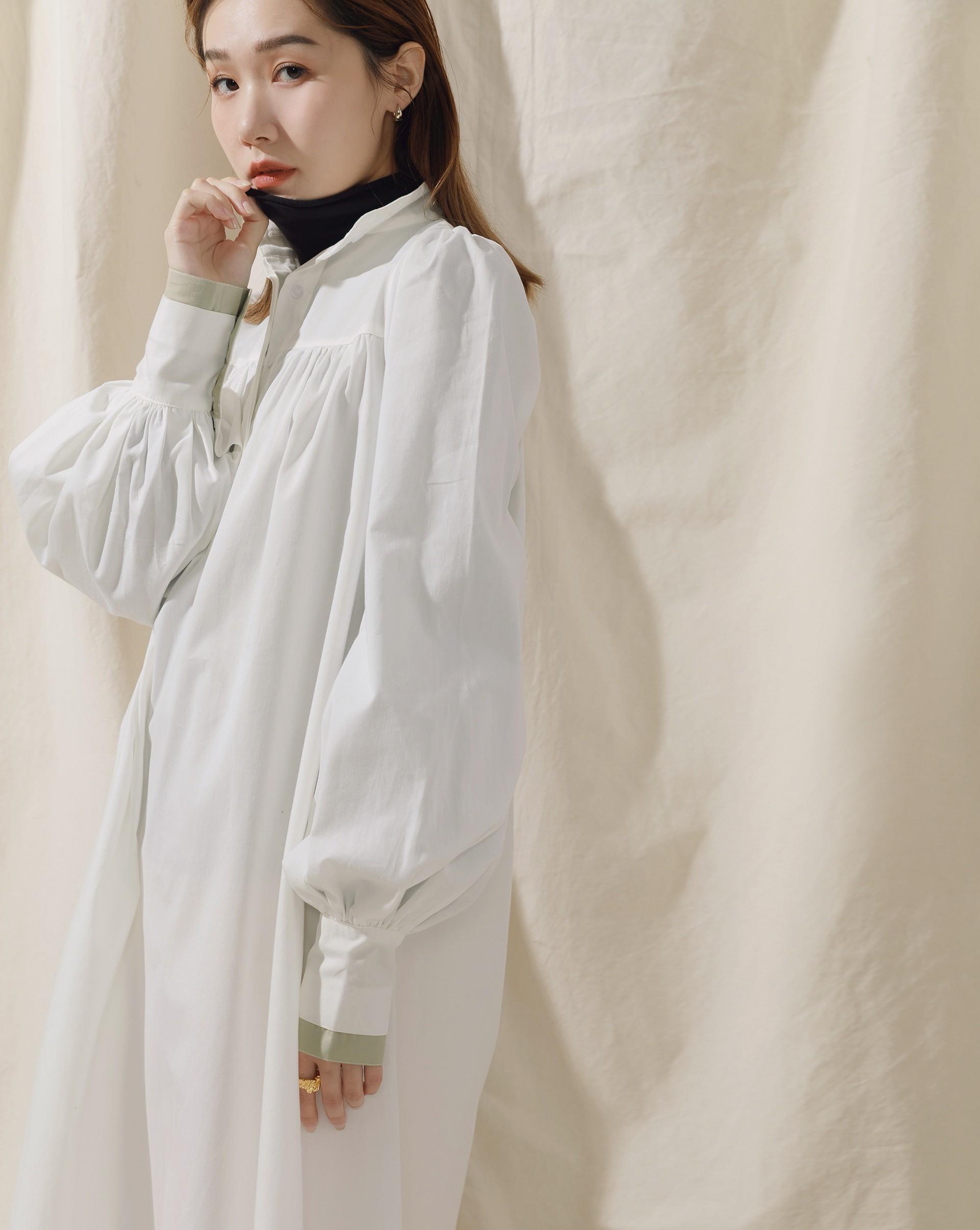 Meierq+Monroe-PROJECT.M 拼接澎袖立領長版襯衫洋裝