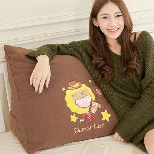 【奶油獅】正版授權-100%台灣製造 星星牛仔布套可拆三角靠墊/美腿枕-二入