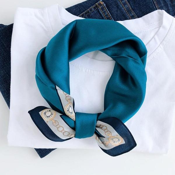 法式復古藍色真絲絲巾小方巾女桑蠶絲圍巾春秋百搭裝飾小領巾發帶 韓國時尚 618