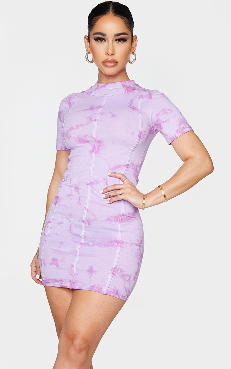 Shape Purple Tie Dye Binding Detail Bodycon Dress
