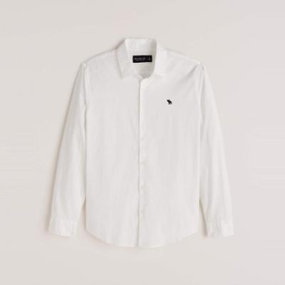 A&F 麋鹿 經典刺繡小麋鹿素面長袖襯衫-白色