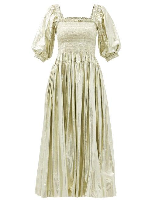 Molly Goddard - Camilla Shirred Taffeta Midi Dress - Womens - Gold