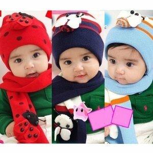 小瓢蟲保暖帽圍巾4件組