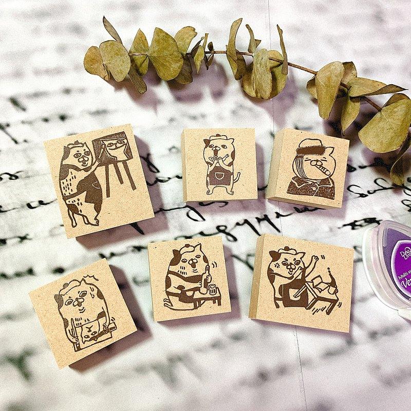 貓畫家生活印章(6款) 台灣文創 印章 療癒系 橡皮章 手帳 貓