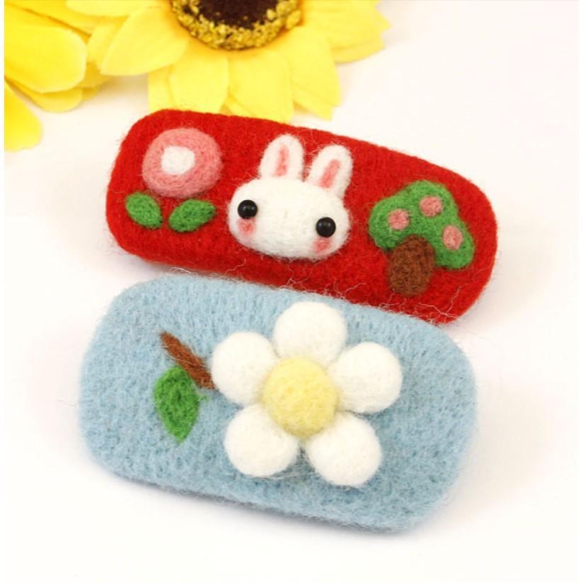 羊毛氈材料包 髮夾 ( 兔子 .  花朵 ) 自己動手做髮夾 難度低