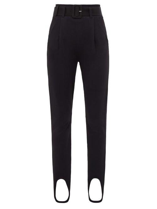 Self-portrait - Belted Stirrup-cuff Jersey Leggings - Womens - Black