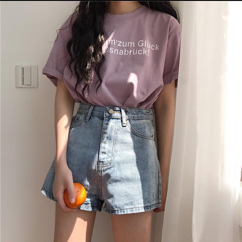 超顯瘦水洗復古牛仔褲 女生牛仔短褲 直筒短褲 高腰顯瘦短褲 學生 闊腿褲