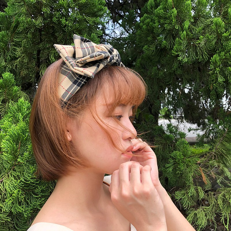 雙層大蝴蝶扭結髮帶_經典_英倫格紋