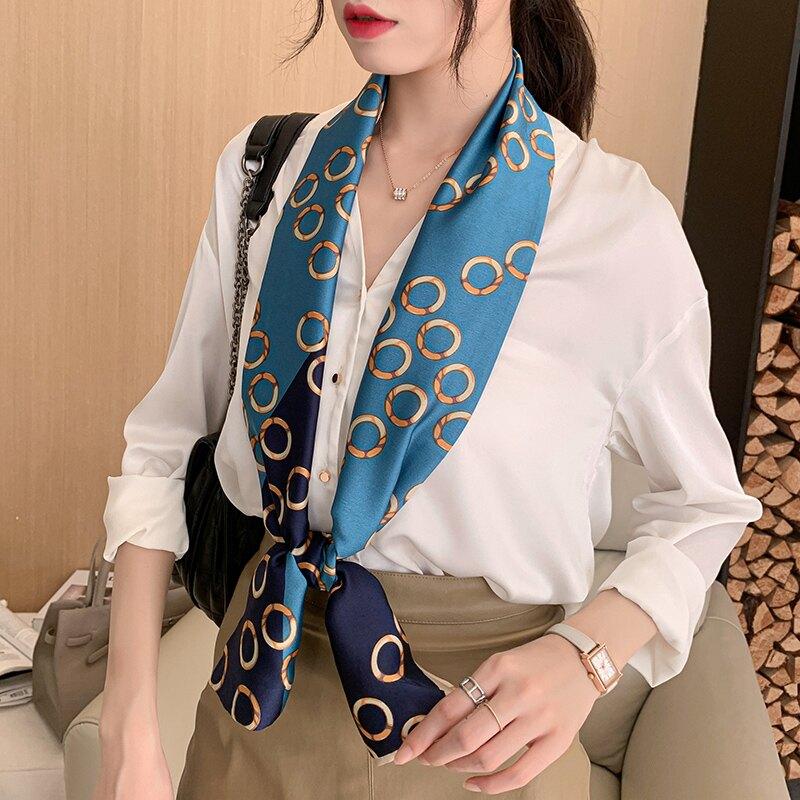 小絲巾秋季脖子薄款防曬細窄小長條懶人女韓國百搭裝飾領巾圍巾潮