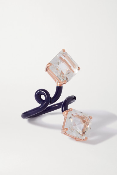 Bea Bongiasca - Double Octagon Tendril 9k 玫瑰金、搪瓷、水晶戒指 - 海军蓝 - 12