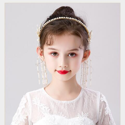 2021搶先款 流蘇髮箍新款女童珍珠發箍手工花朵頭箍影樓寫真發飾蝴蝶流蘇漢服古裝頭飾 JUST M 現貨快出 新年狂歡
