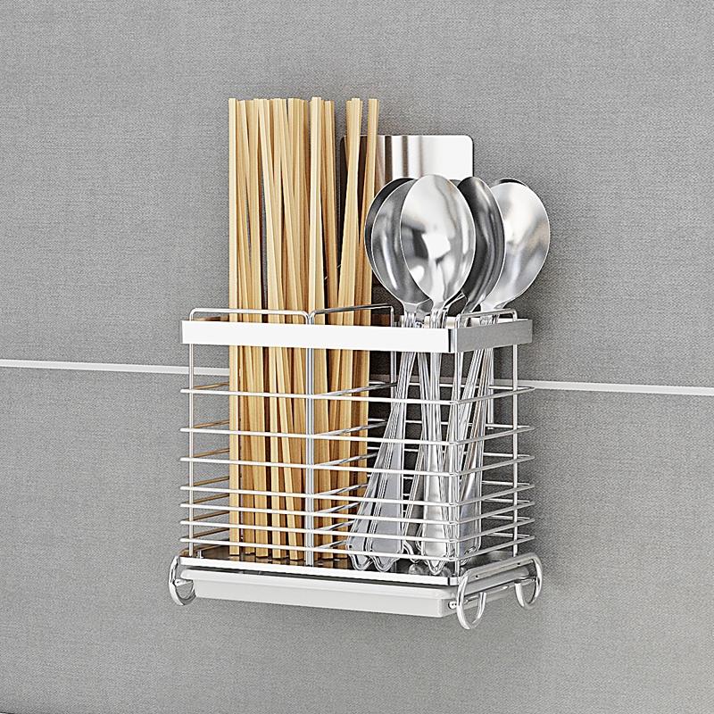 304不銹鋼筷筒壁掛式筷子架盒餐具收納接水盤筷子筒 瀝水廚房免釘