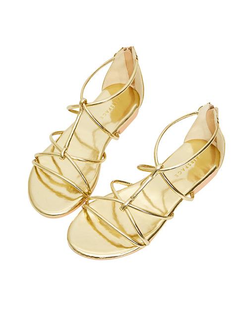 金屬鏡面線條涼鞋