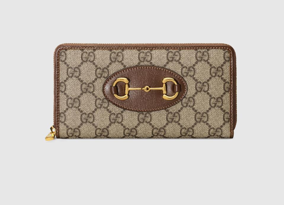 超取499免運 | Gucci 1955馬銜長夾 Horsebit  zip around wallet (Style 621889咖)預購商品| 超取499免運