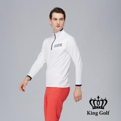 【KING GOLF】素面薄款異色拉鍊長袖立領POLO衫-白色