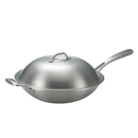 SanYeh三葉頂級316不鏽鋼健康概念養生38cm單耳美式平炒鍋