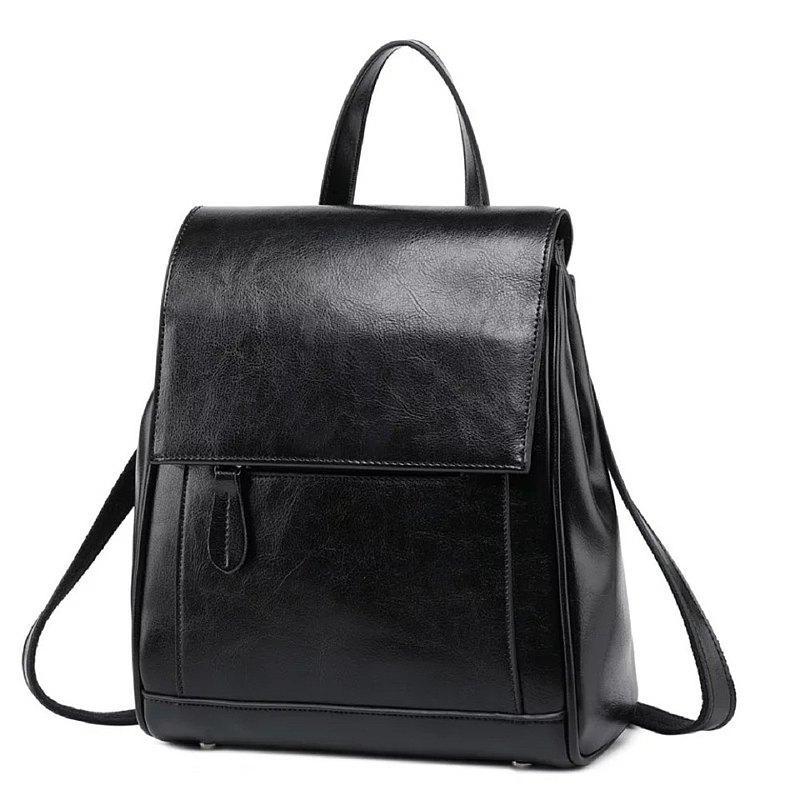 **Hakken 後背包  真皮包 側背包 皮包 大容量 單肩包**  黑色