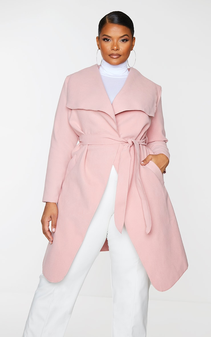Plus Veronica Dusty Pink Oversized Waterfall Belt Coat