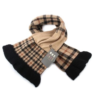 DAKS 格紋雙面拼色羊毛脖圍圍巾-駝色