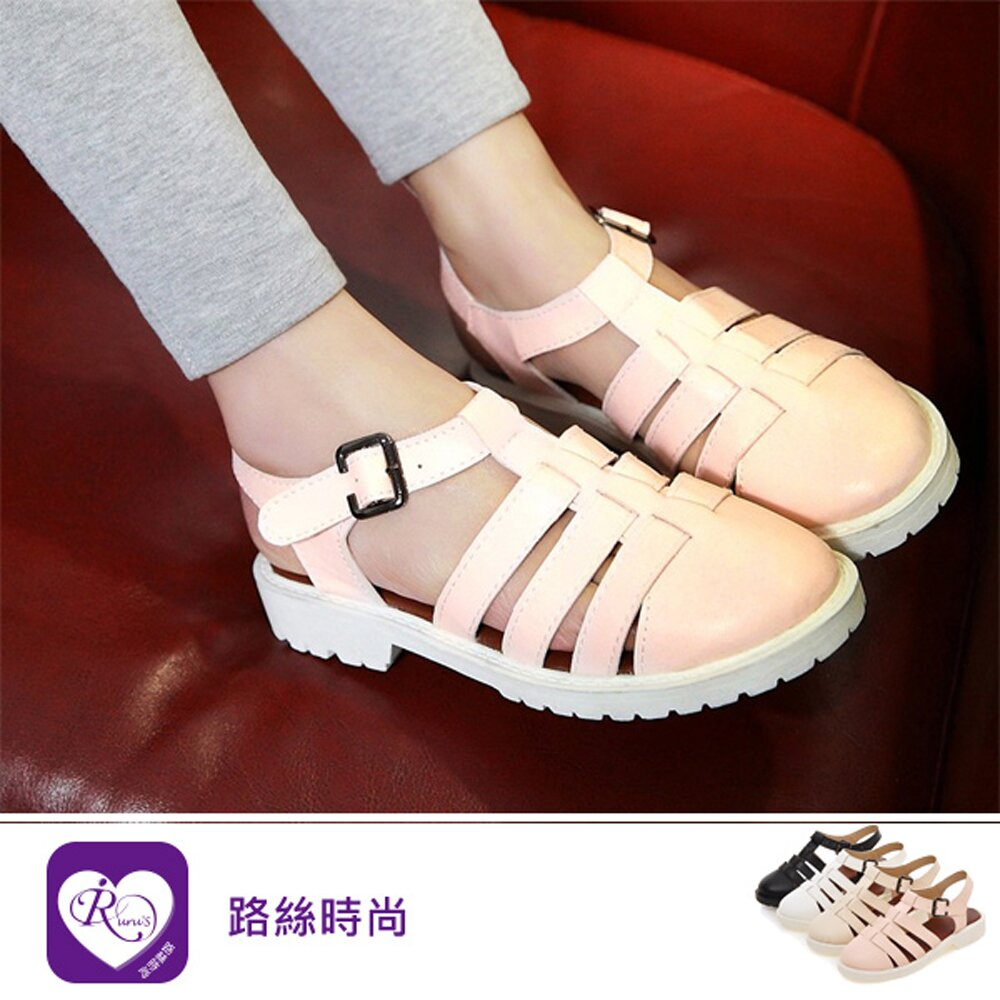 【iRurus 路絲時尚】歐美時尚休閒魚骨造型皮帶扣環包頭涼鞋 (RX0895-W-22) 零碼促銷