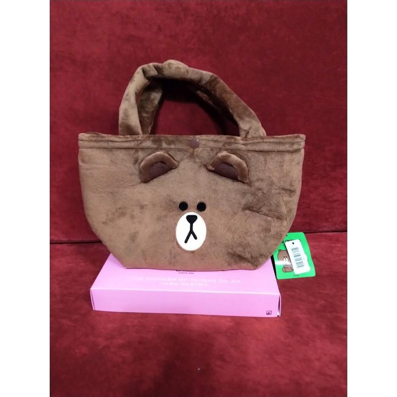 LINE系列小提袋10英吋 熊大 造型包袋 手提包 便當袋 絨毛手提袋