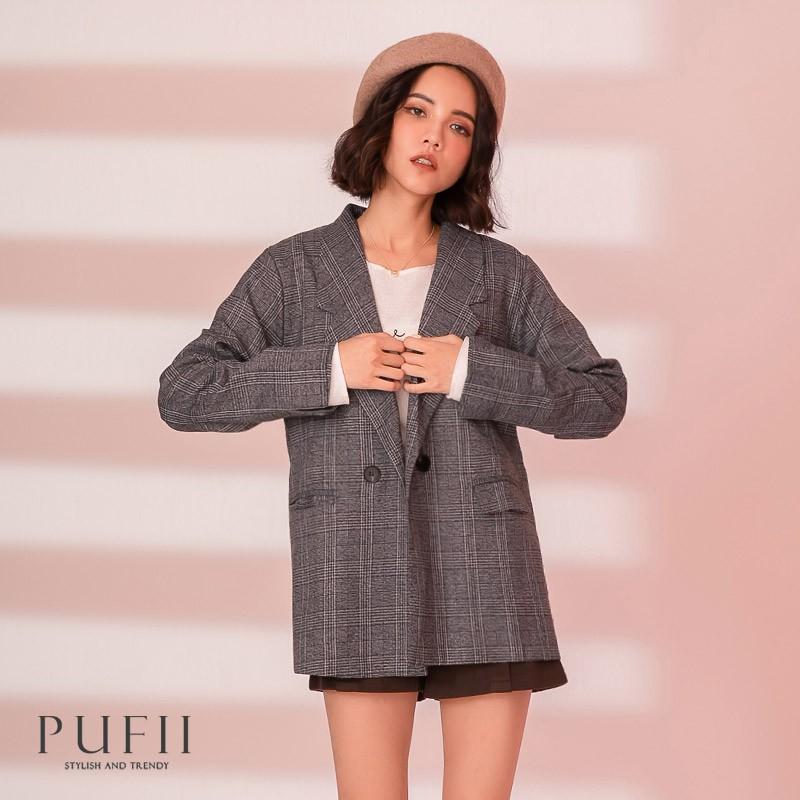 PUFII-外套 氣質格紋雙釦西裝外套-1110 現+預 冬【CP19424】