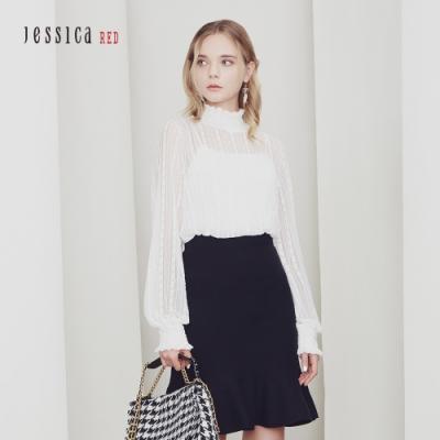 JESSICA RED -  優雅寬鬆摺皺花邊立領透膚泡泡袖上衣