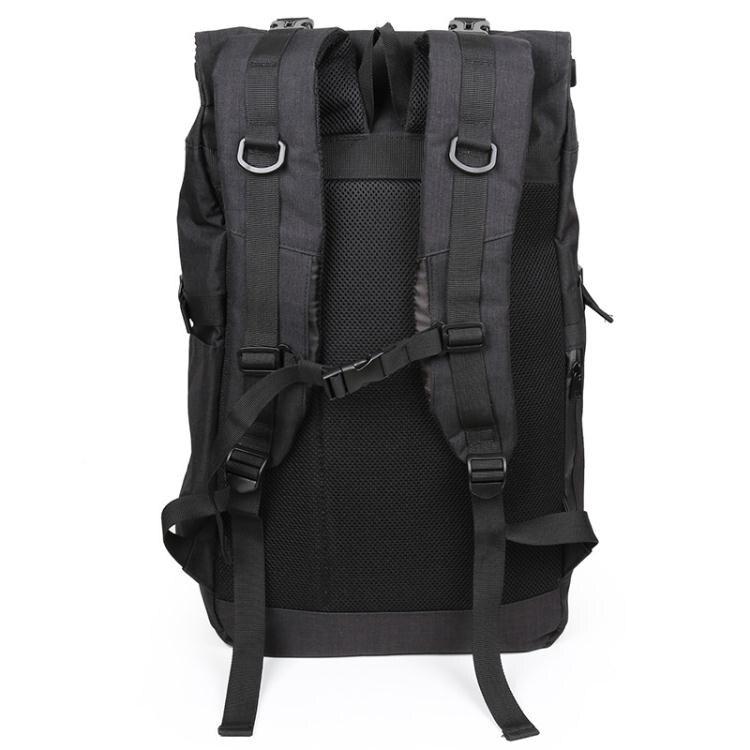 潮牌捲蓋後背包大容量男旅游登山包戶外休閒旅行背包變形書包電腦 上新 LX