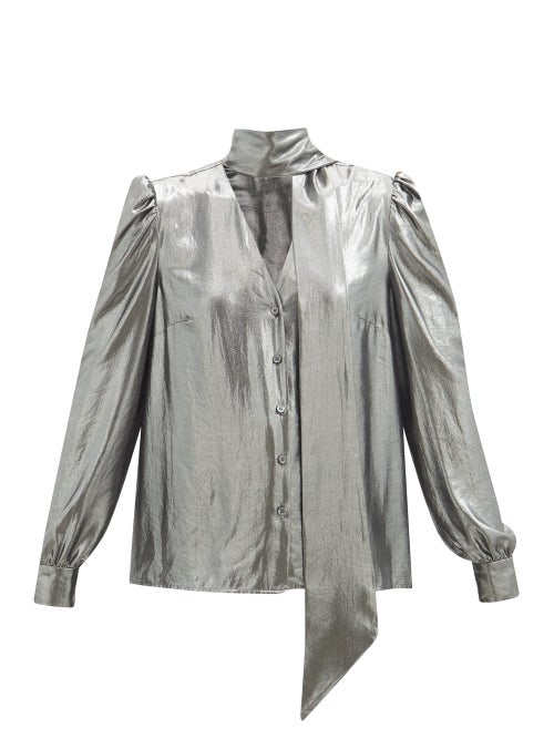 Racil - Solange Tie-neck Lamé Blouse - Womens - Silver