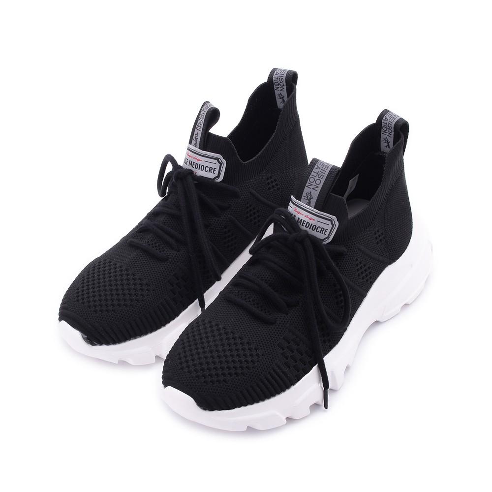 MEDEA 飛織休閒運動鞋 黑 F601 女鞋