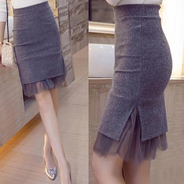 秋冬新款網紗包臀裙高腰裙毛呢裙開叉半身裙一步裙短裙女 黛尼時尚精品