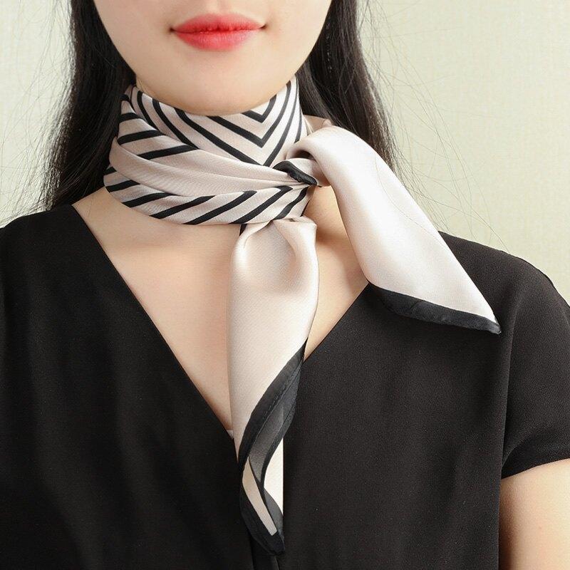不掉色小方巾桑蠶絲圍巾韓國百搭領巾絲巾女春秋薄款氣質西裝時尚