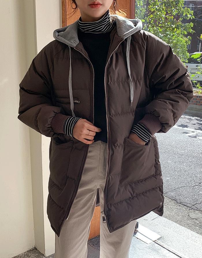 韓國空運 - Cotton Hooded Long Padding 大衣外套