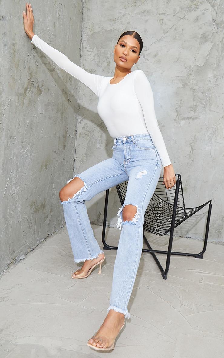 Bleach Wash High Rise Distressed Straight Leg Jeans
