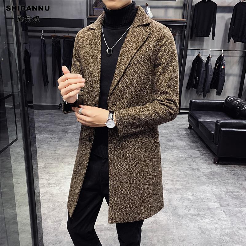 毛呢外套 加棉加厚 情侶大衣 韓版 大尺碼男士毛呢 風衣外套男 英倫翻領保暖長版外套 男生素色修身外套