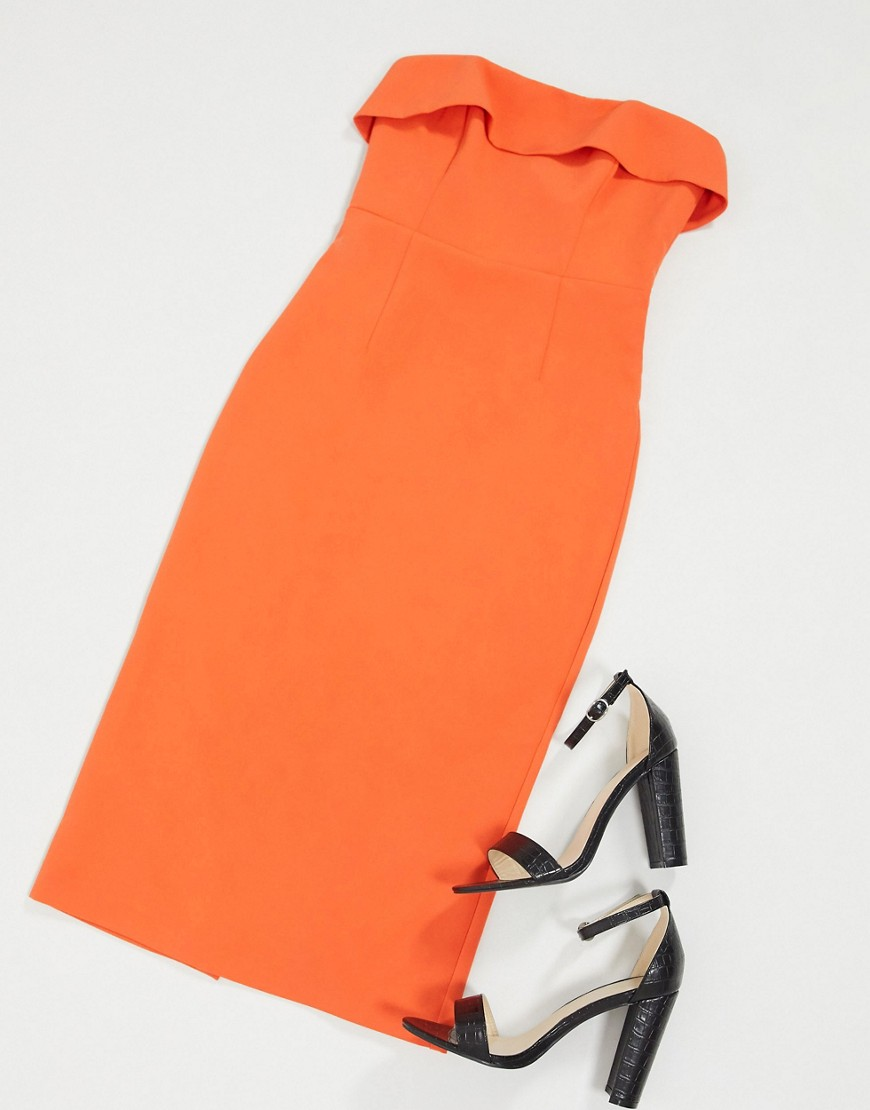 Bardot bandeau midi pencil dress in orange