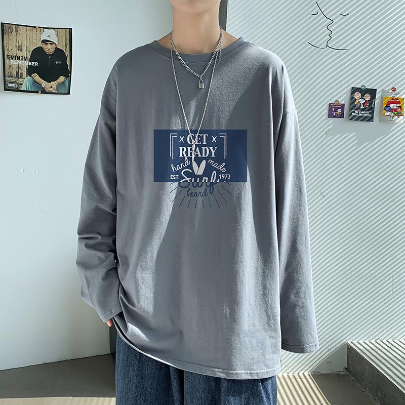 【火火好貨】男裝 長袖T恤男韓版潮流帥氣寬松嘻哈bf港風圓領男生秋季上衣 男生 T恤 體恤