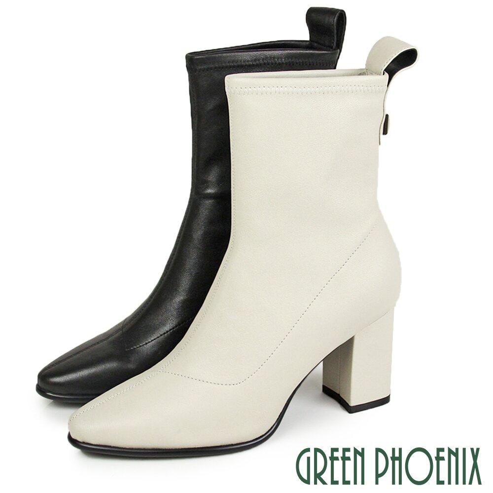 【GREEN PHOENIX】線條車縫立體金屬羊皮粗高跟尖頭短靴/馬靴U21-20514