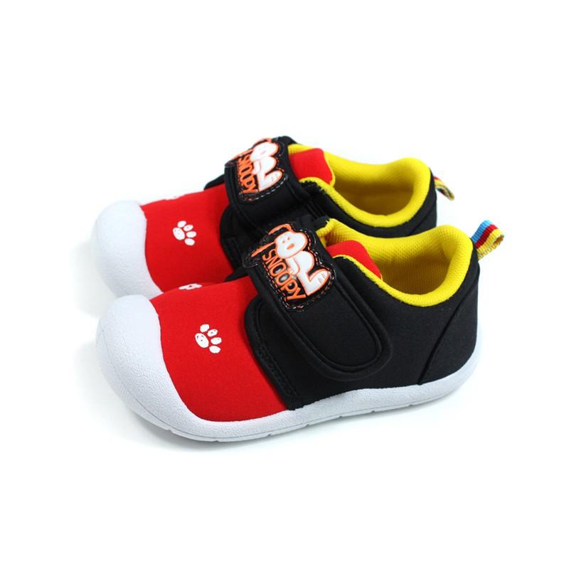 史奴比 SNOOPY 休閒布鞋 黑/紅 魔鬼氈 小童 童鞋 SNKK95222 no887