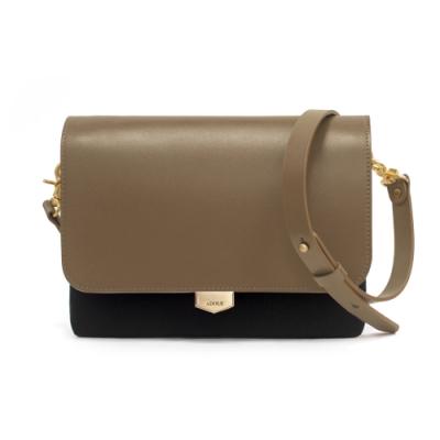 【IBAOBAO愛包包】ADOLE-ADay真皮袋蓋三層帆布包/黑+摩卡