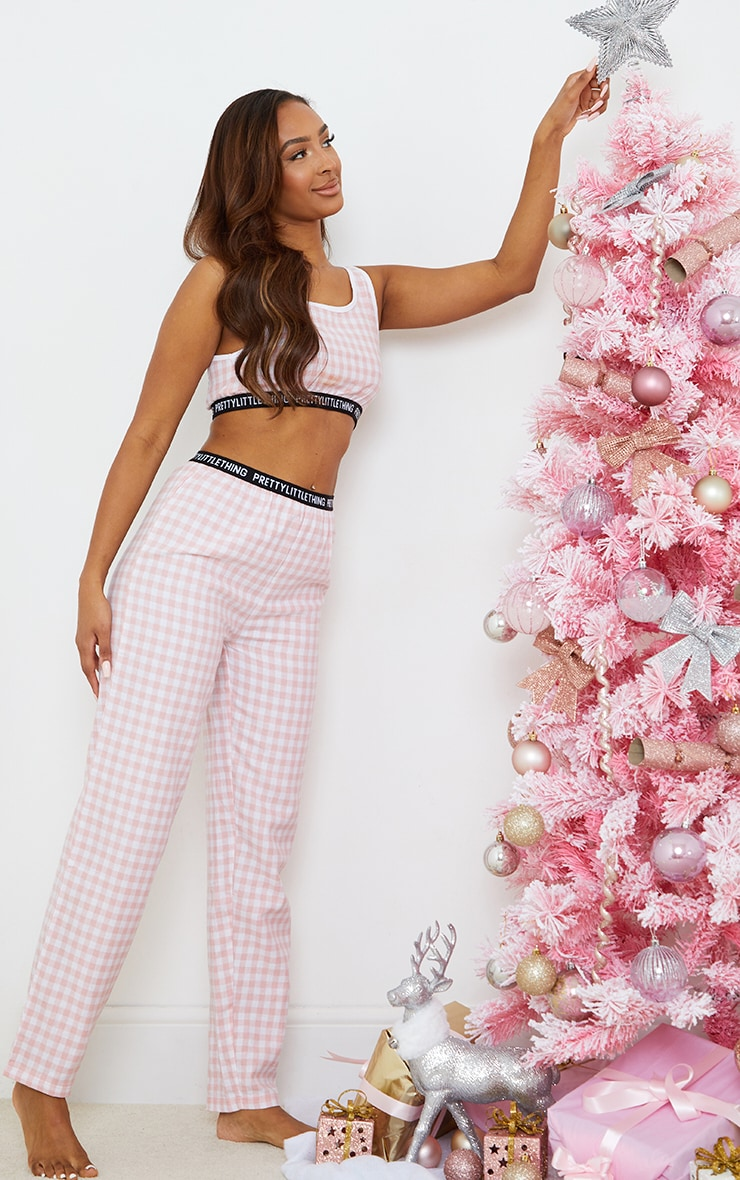 PRETTYLITTLETHING Pale Pink Taping Detail Mix And Match Check PJ Pants