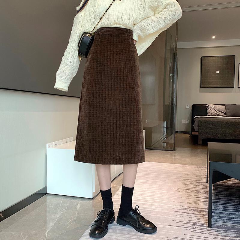 A字裙 175735韓系燈芯絨中長款鬆束腰半身裙