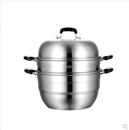 【快速出貨】蒸鍋 蒸饅頭的蒸鍋304不銹鋼三層加厚家用大容量蒸煮雙層蒸鍋小蒸籠32 交換禮物 雙12購物節