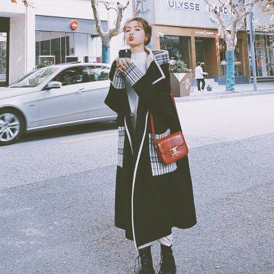8628黑色毛呢大衣女中長款2020秋冬新款韓版寬鬆加厚學院風呢子外套