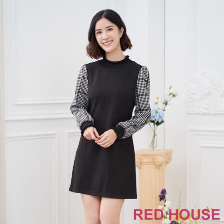 Red House 蕾赫斯-素面格紋袖洋裝(黑色)