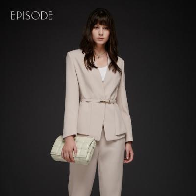 EPISODE - 簡約知性修身寬擺V領西裝外套(棕色)