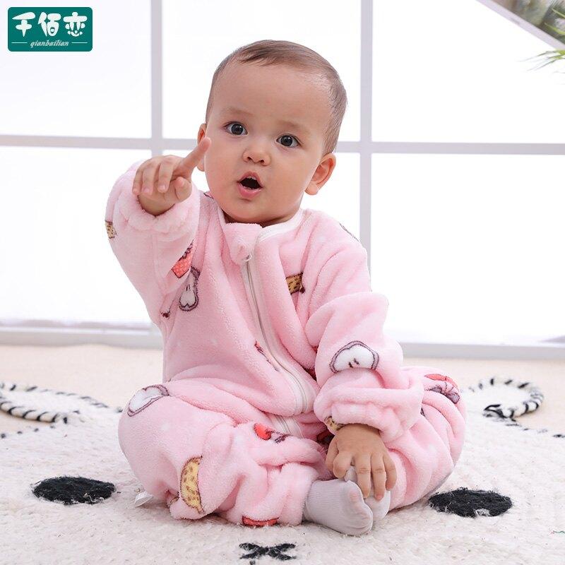 嬰兒睡袋 嬰兒睡袋兒童秋冬季加厚法蘭絨連體睡衣新款珊瑚絨寶寶分腿防踢被 雙11